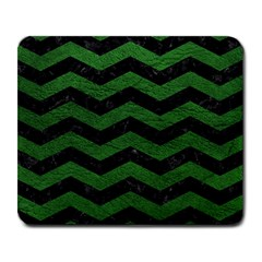 CHEVRON3 BLACK MARBLE & GREEN LEATHER Large Mousepads