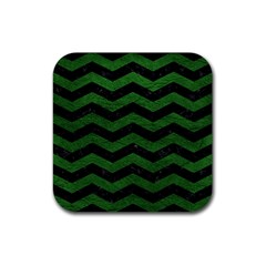 CHEVRON3 BLACK MARBLE & GREEN LEATHER Rubber Coaster (Square)