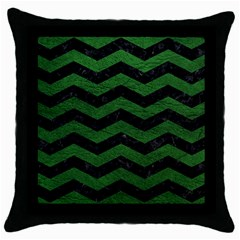 CHEVRON3 BLACK MARBLE & GREEN LEATHER Throw Pillow Case (Black)