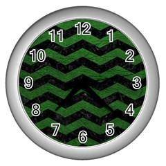 CHEVRON3 BLACK MARBLE & GREEN LEATHER Wall Clocks (Silver)