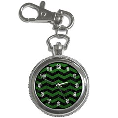 CHEVRON3 BLACK MARBLE & GREEN LEATHER Key Chain Watches