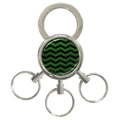 CHEVRON3 BLACK MARBLE & GREEN LEATHER 3-Ring Key Chains