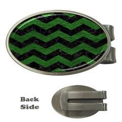 CHEVRON3 BLACK MARBLE & GREEN LEATHER Money Clips (Oval)