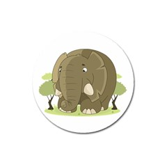 Cute Elephant Magnet 3  (round) by Valentinaart
