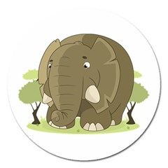 Cute Elephant Magnet 5  (round) by Valentinaart