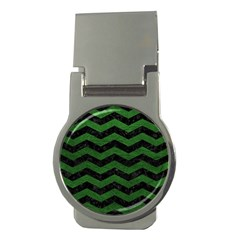 CHEVRON3 BLACK MARBLE & GREEN LEATHER Money Clips (Round)