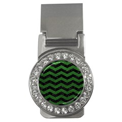 CHEVRON3 BLACK MARBLE & GREEN LEATHER Money Clips (CZ)