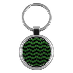 CHEVRON3 BLACK MARBLE & GREEN LEATHER Key Chains (Round)