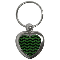 CHEVRON3 BLACK MARBLE & GREEN LEATHER Key Chains (Heart)