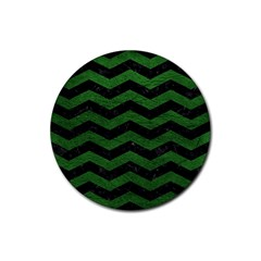 CHEVRON3 BLACK MARBLE & GREEN LEATHER Rubber Coaster (Round)