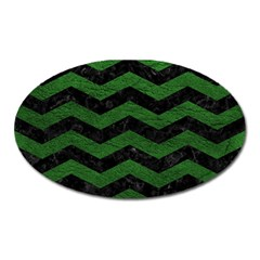 CHEVRON3 BLACK MARBLE & GREEN LEATHER Oval Magnet