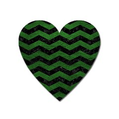 CHEVRON3 BLACK MARBLE & GREEN LEATHER Heart Magnet