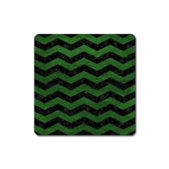 CHEVRON3 BLACK MARBLE & GREEN LEATHER Square Magnet