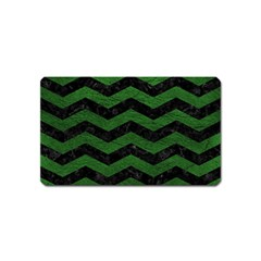 CHEVRON3 BLACK MARBLE & GREEN LEATHER Magnet (Name Card)