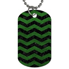 CHEVRON3 BLACK MARBLE & GREEN LEATHER Dog Tag (One Side)