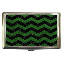 CHEVRON3 BLACK MARBLE & GREEN LEATHER Cigarette Money Cases