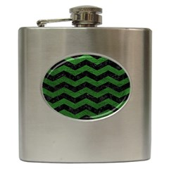 CHEVRON3 BLACK MARBLE & GREEN LEATHER Hip Flask (6 oz)