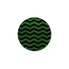 CHEVRON3 BLACK MARBLE & GREEN LEATHER Golf Ball Marker