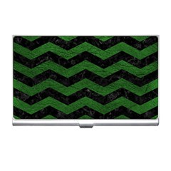 CHEVRON3 BLACK MARBLE & GREEN LEATHER Business Card Holders