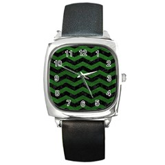 CHEVRON3 BLACK MARBLE & GREEN LEATHER Square Metal Watch