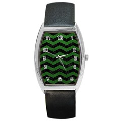 CHEVRON3 BLACK MARBLE & GREEN LEATHER Barrel Style Metal Watch