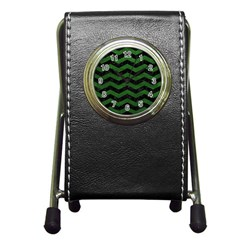CHEVRON3 BLACK MARBLE & GREEN LEATHER Pen Holder Desk Clocks
