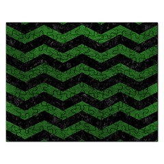 CHEVRON3 BLACK MARBLE & GREEN LEATHER Rectangular Jigsaw Puzzl