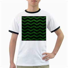 CHEVRON3 BLACK MARBLE & GREEN LEATHER Ringer T-Shirts