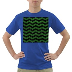CHEVRON3 BLACK MARBLE & GREEN LEATHER Dark T-Shirt