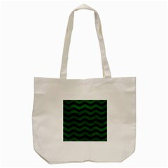CHEVRON3 BLACK MARBLE & GREEN LEATHER Tote Bag (Cream)
