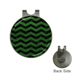 CHEVRON3 BLACK MARBLE & GREEN LEATHER Hat Clips with Golf Markers
