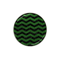 CHEVRON3 BLACK MARBLE & GREEN LEATHER Hat Clip Ball Marker