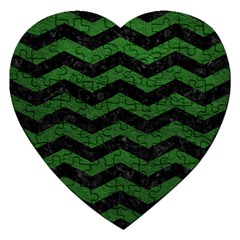 CHEVRON3 BLACK MARBLE & GREEN LEATHER Jigsaw Puzzle (Heart)