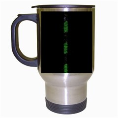 CHEVRON3 BLACK MARBLE & GREEN LEATHER Travel Mug (Silver Gray)