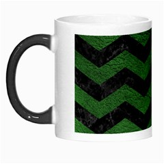 CHEVRON3 BLACK MARBLE & GREEN LEATHER Morph Mugs