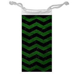 CHEVRON3 BLACK MARBLE & GREEN LEATHER Jewelry Bag
