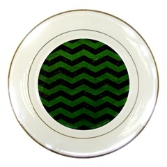 CHEVRON3 BLACK MARBLE & GREEN LEATHER Porcelain Plates