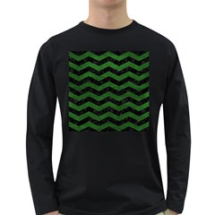CHEVRON3 BLACK MARBLE & GREEN LEATHER Long Sleeve Dark T-Shirts