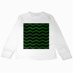 CHEVRON3 BLACK MARBLE & GREEN LEATHER Kids Long Sleeve T-Shirts