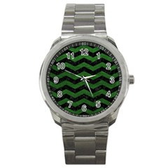 CHEVRON3 BLACK MARBLE & GREEN LEATHER Sport Metal Watch