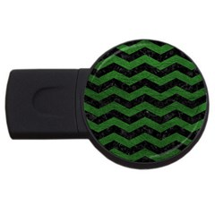 CHEVRON3 BLACK MARBLE & GREEN LEATHER USB Flash Drive Round (4 GB)