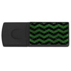 CHEVRON3 BLACK MARBLE & GREEN LEATHER Rectangular USB Flash Drive