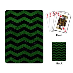 CHEVRON3 BLACK MARBLE & GREEN LEATHER Playing Card