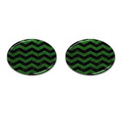 CHEVRON3 BLACK MARBLE & GREEN LEATHER Cufflinks (Oval)
