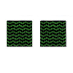 CHEVRON3 BLACK MARBLE & GREEN LEATHER Cufflinks (Square)