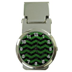 CHEVRON3 BLACK MARBLE & GREEN LEATHER Money Clip Watches