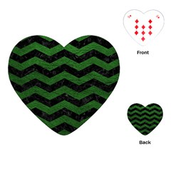 CHEVRON3 BLACK MARBLE & GREEN LEATHER Playing Cards (Heart)