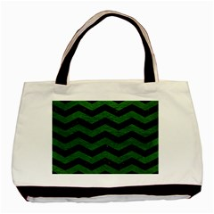 CHEVRON3 BLACK MARBLE & GREEN LEATHER Basic Tote Bag