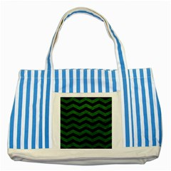 CHEVRON3 BLACK MARBLE & GREEN LEATHER Striped Blue Tote Bag
