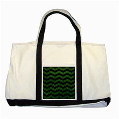 CHEVRON3 BLACK MARBLE & GREEN LEATHER Two Tone Tote Bag